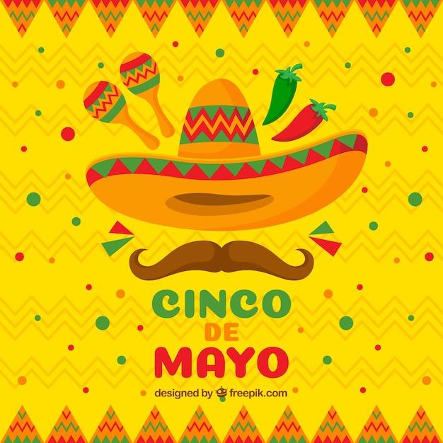 Fond De Cinco De Mayo Dans Un Style Plat Vecteur gratuit