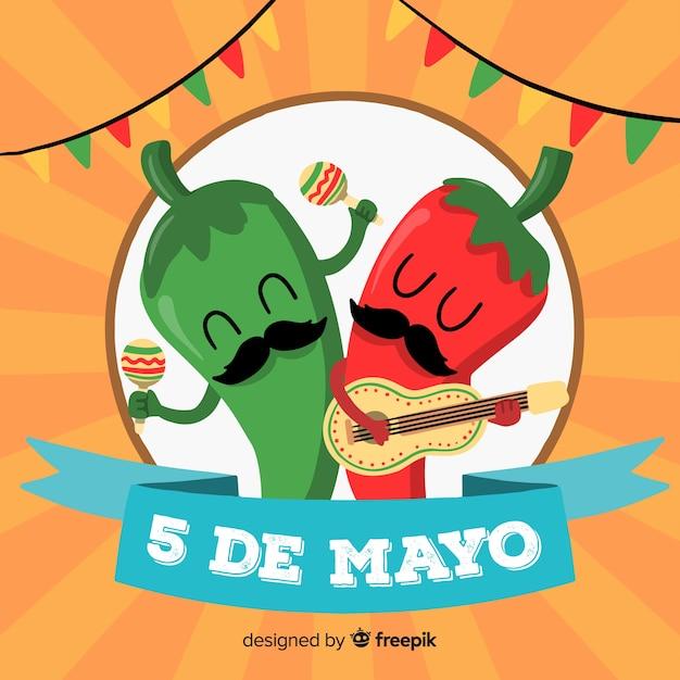 Fond De Cinco De Mayo Dessiné à La Main Vecteur gratuit