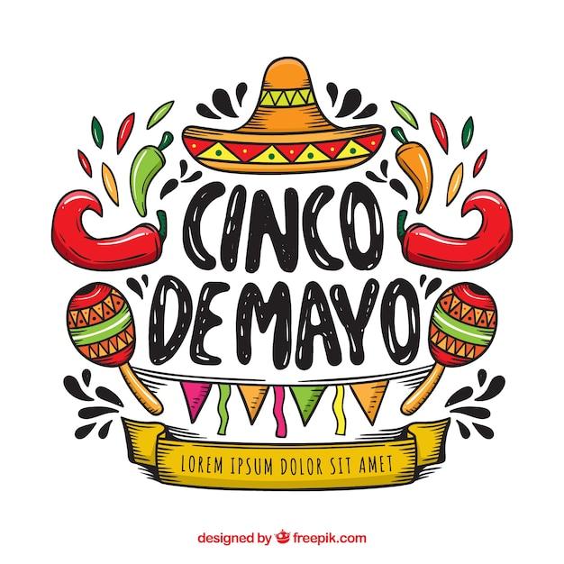 Fond De Cinco De Mayo Avec Des éléments Mexicains Vecteur gratuit
