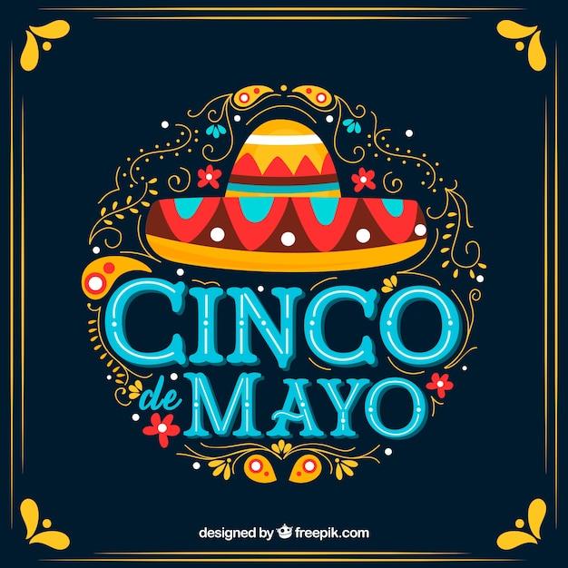 Fond de cinco de mayo avec des ornements et un chapeau mexicain Vecteur gratuit