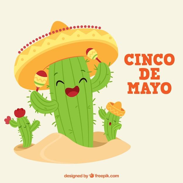 Le fond de cinco de mayo avec des personnages drôles de cactus Vecteur gratuit
