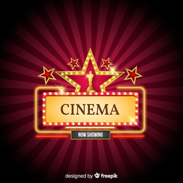Fond De Cinéma Avec Des étoiles Vecteur gratuit