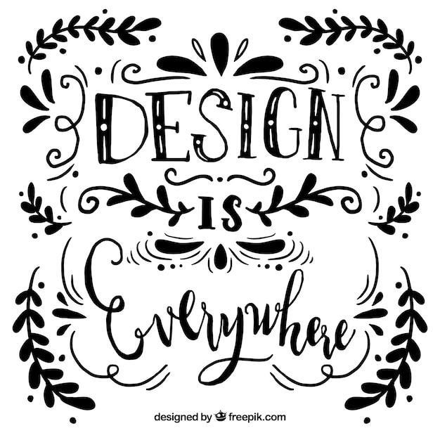 Fond de citation de conception graphique avec lettrage et ornements Vecteur gratuit