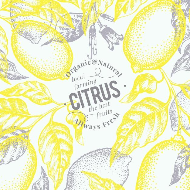 Fond de citron. illustration de fruits vecteur dessiné à la main. style gravé. fond d'agrumes rétro. Vecteur Premium