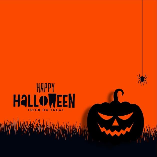 Fond De Citrouille Et Araignée Halloween Heureux Vecteur gratuit