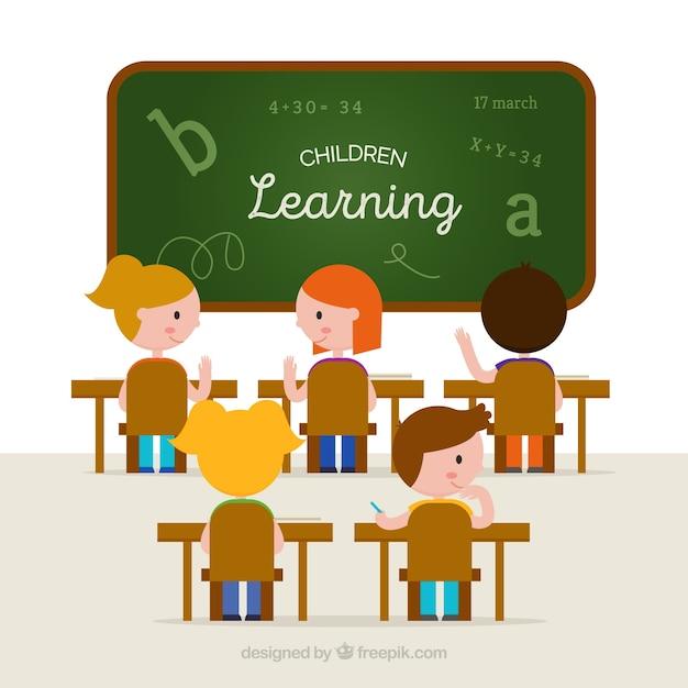 Fond en classe avec les élèves apprentissage Vecteur gratuit