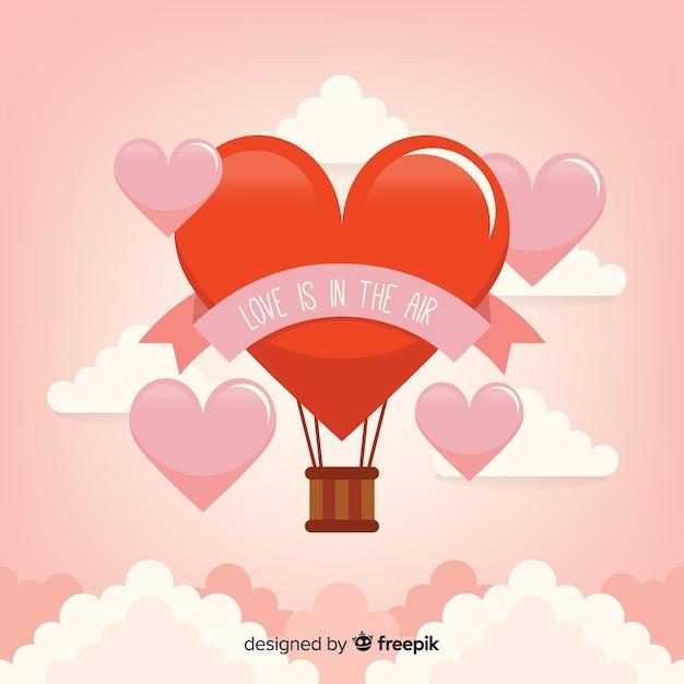 Fond coeur ballon air chaud Vecteur gratuit