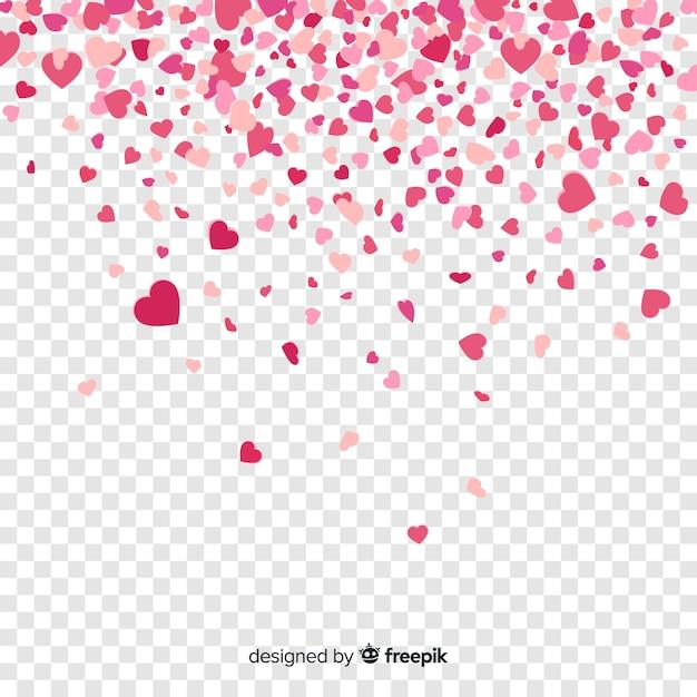 Fond De Coeur De Confettis Vecteur Premium