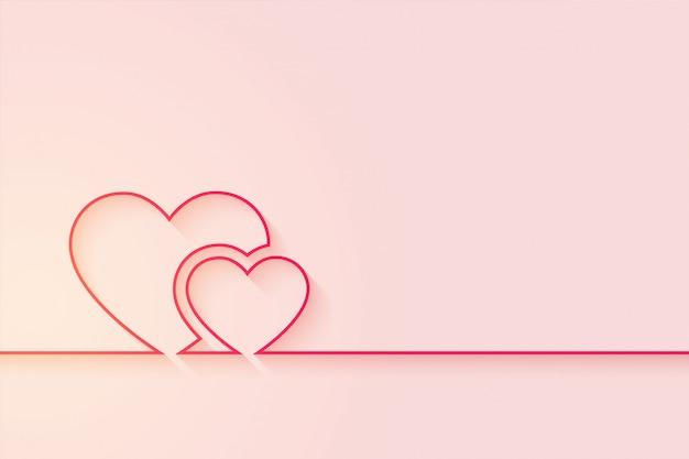 Fond De Coeurs D'amour Minimal Avec Espace De Texte Vecteur gratuit