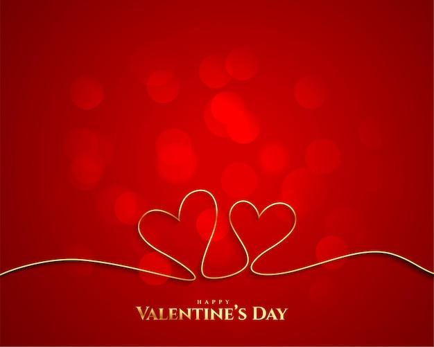 Fond De Coeurs De Ligne Dorée Saint Valentin Vecteur gratuit