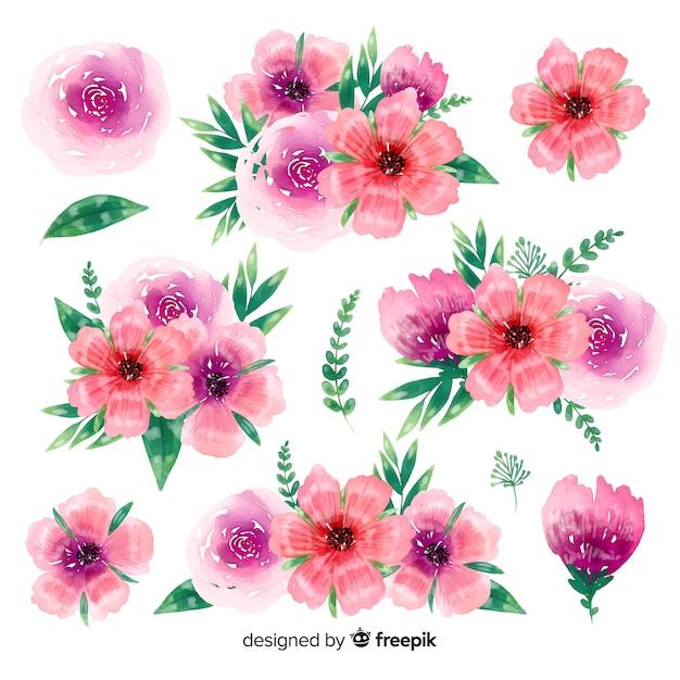 Fond de collection beau bouquet floral Vecteur gratuit