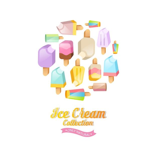 Fond de collection de crème glacée. diverses glaces sur un bâton situé sur un cercle Vecteur gratuit