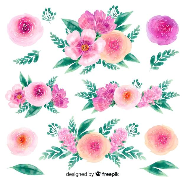Fond de collection de fleurs dessinées à la main Vecteur gratuit