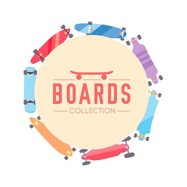 Fond de collection de skateboard et skateboard avec des planches à roulettes Vecteur gratuit