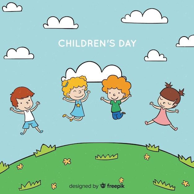 Fond de colline pour enfants dessinés à la main Vecteur gratuit
