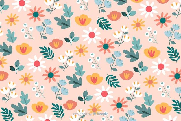 Fond coloré avec de belles fleurs et design floral Vecteur gratuit