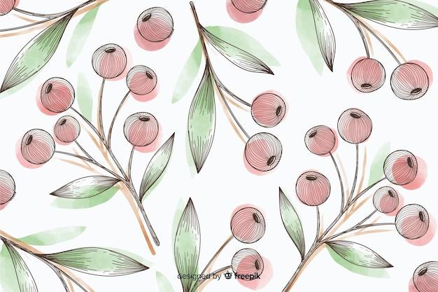 Fond coloré avec des boutons floraux Vecteur gratuit