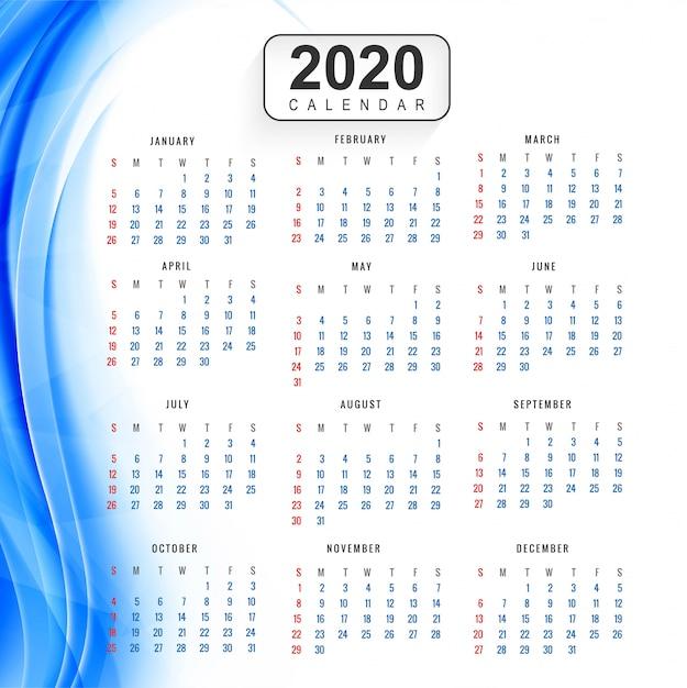 Fond coloré calendrier créatif nouvel an 2020 Vecteur gratuit
