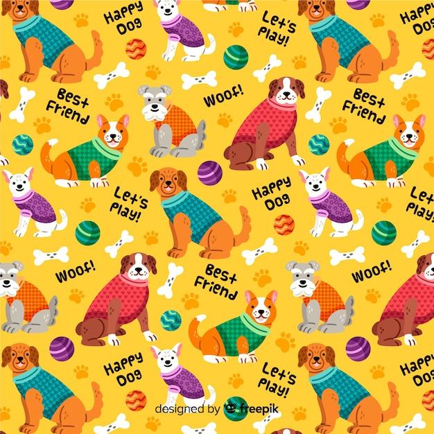 Fond coloré de chiens Vecteur gratuit