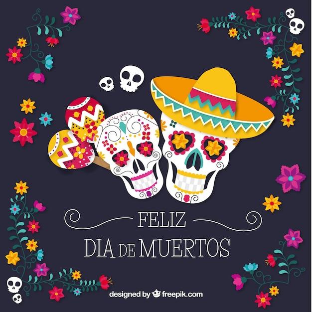 Fond coloré avec des crânes mexicains Vecteur gratuit