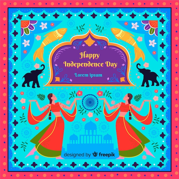 Fond coloré fête de l'indépendance indienne Vecteur gratuit