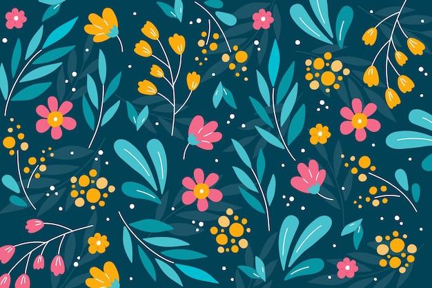 Fond coloré avec des fleurs ditsy Vecteur gratuit