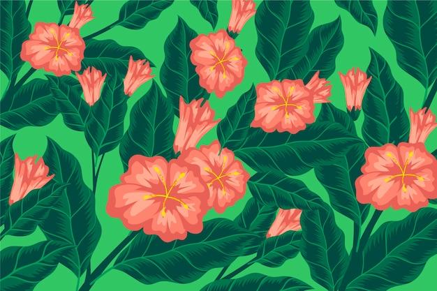 Fond Coloré Avec Des Fleurs Et Des Feuilles Roses Vecteur gratuit