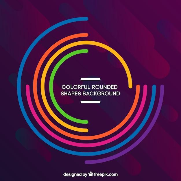 Fond coloré avec des formes arrondies Vecteur gratuit