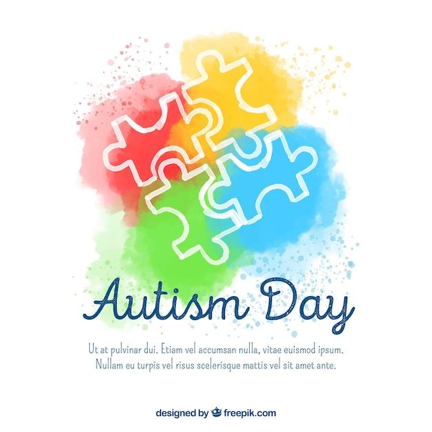 Fond coloré de la journée mondiale de l'autisme Vecteur gratuit