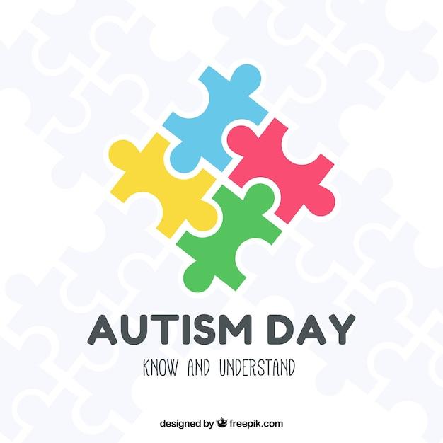 Fond Coloré De La Journée Mondiale De L'autisme Vecteur Premium