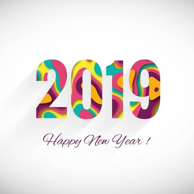 Fond coloré de joyeux nouvel an 2019 carte célébration Vecteur gratuit