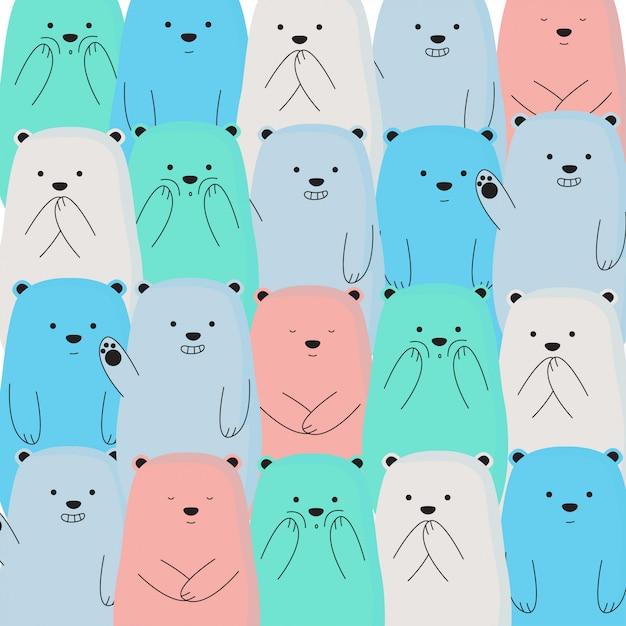 Fond coloré mignon ours de glace Vecteur Premium
