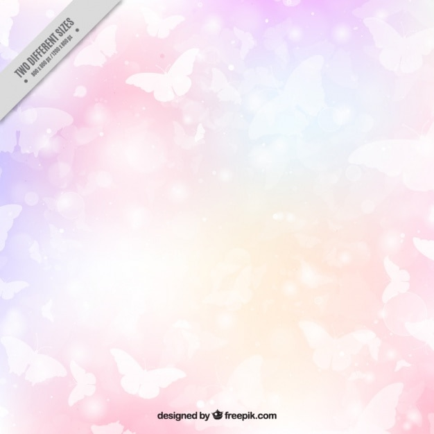 Fond coloré des papillons blancs Vecteur gratuit