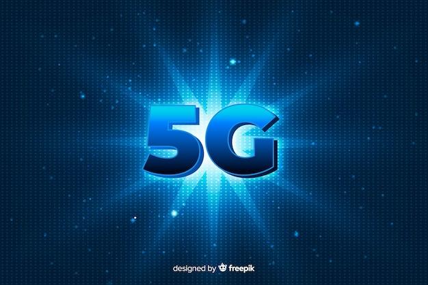 Fond de concept 5g avec étoile brillante Vecteur gratuit