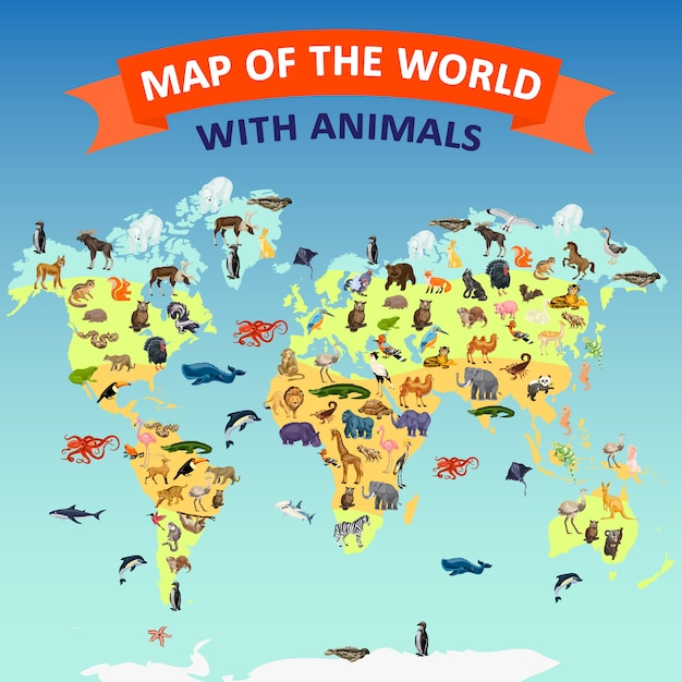 Fond de concept animal carte monde. bande dessinée illustration de fond de carte monde animal vecteur concept Vecteur Premium