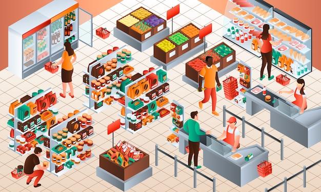 Fond de concept de caissier. illustration isométrique de caissier Vecteur Premium