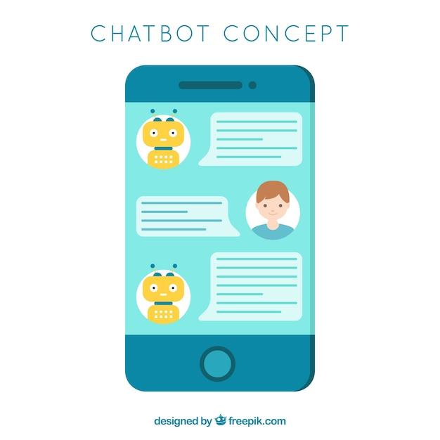 Fond de concept de chatbot avec appareil mobile Vecteur gratuit