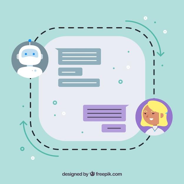 Fond De Concept De Chatbot Avec La Conversation Vecteur gratuit