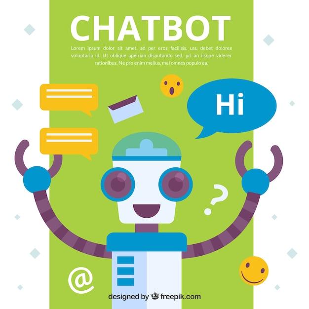 Fond de concept de chatbot avec robot Vecteur gratuit