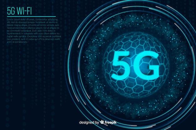 Fond de concept de chiffres futuristes 5g Vecteur gratuit