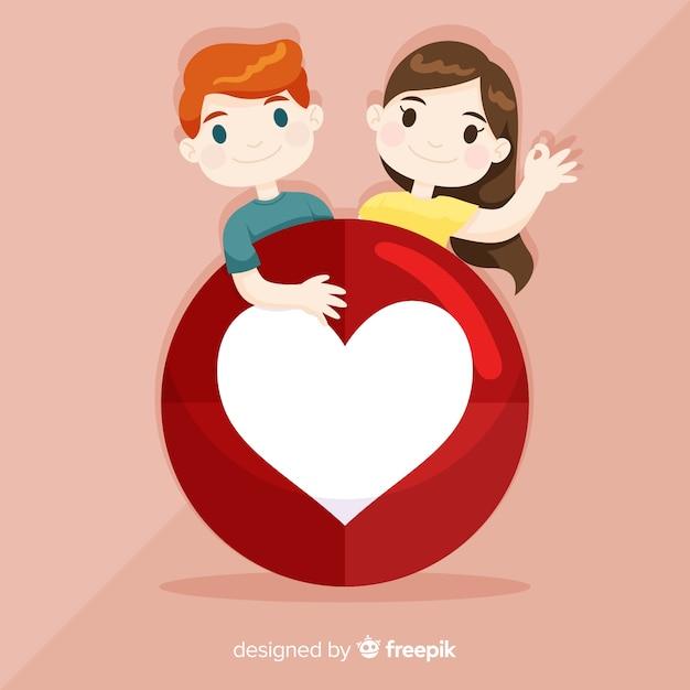 Fond de concept de coeur dessiné jeunes médias sociaux de la main Vecteur gratuit