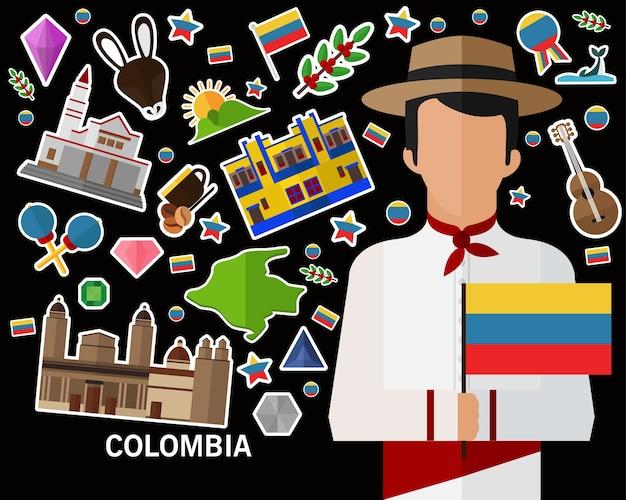 Fond De Concept Colombie Vecteur Premium