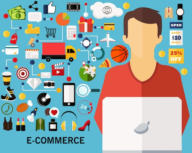 Fond de concept de commerce électronique Vecteur Premium