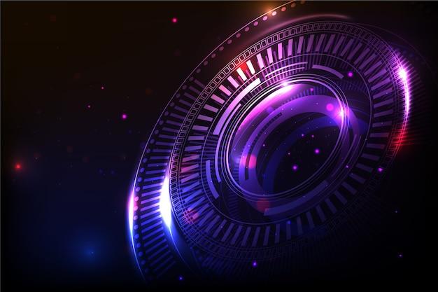 Fond De Concept De Cyberespace Futuriste Vecteur Premium