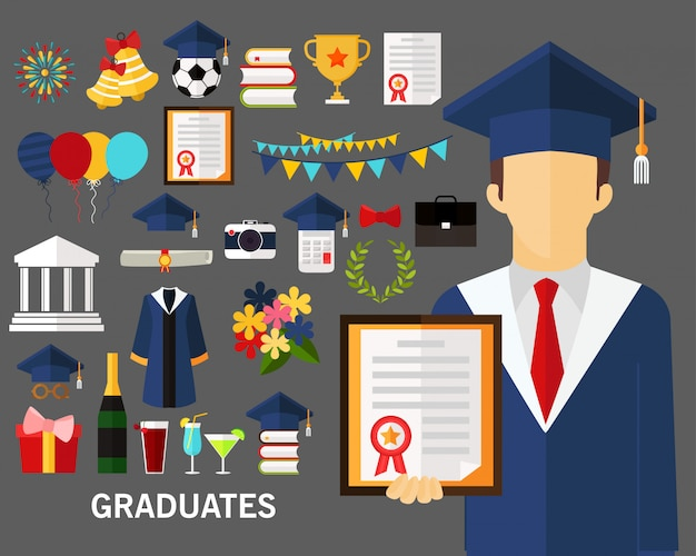 Fond de concept de diplômés. Vecteur Premium