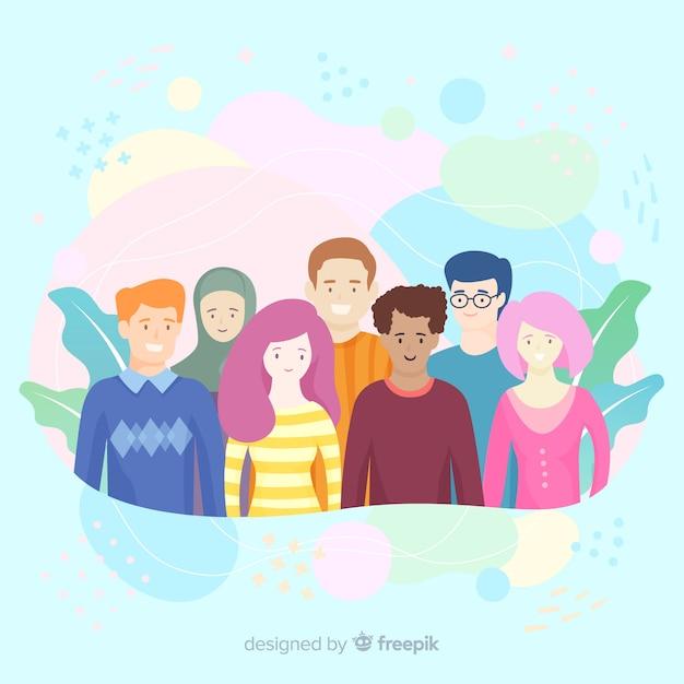 Fond de concept de diversité dessinés à la main Vecteur gratuit