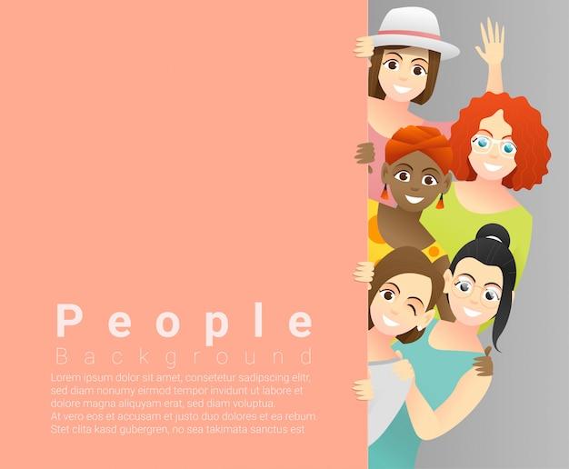 Fond de concept de diversité, groupe de joyeuses multiethniques debout derrière un plateau vide Vecteur Premium
