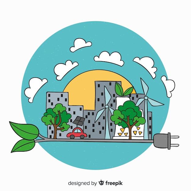 Fond de concept écologie dessinés à la main Vecteur gratuit