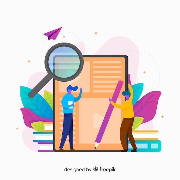 Fond de concept d'éducation en ligne plat Vecteur gratuit