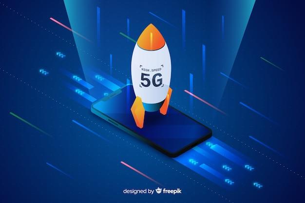 Fond de concept de fusée isométrique 5g Vecteur gratuit